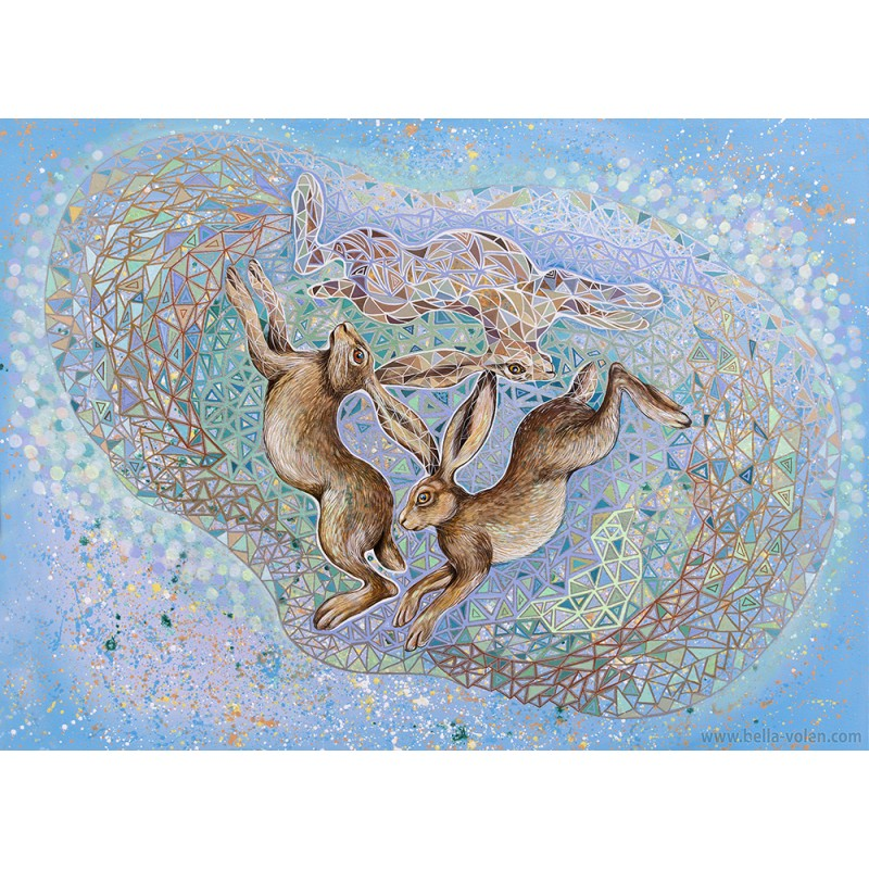 The 3 Hares- Contemporary art print on canvas with the ancient symbol. The print is from my original acrylic canvas painting.